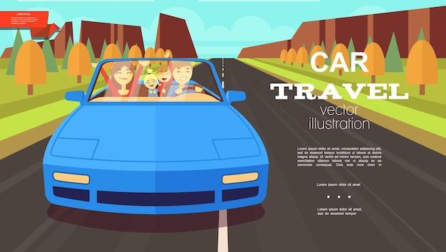 Fondo di estate di viaggio in auto piatto con madre padre e bambini che viaggiano in automobile