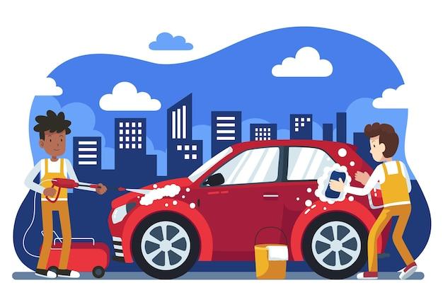 Illustrazione del concetto di servizio di autolavaggio piatto