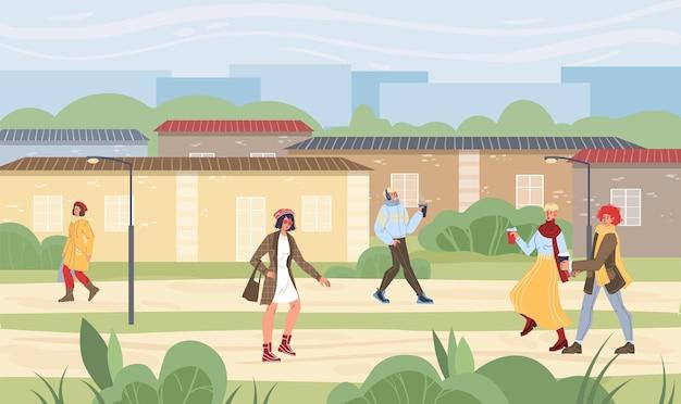 Personaggi dei cartoni animati piatti attività autunnali illustrazione vettoriale concept