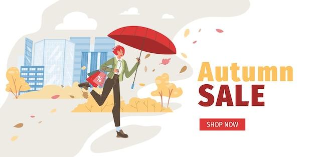Personaggi dei cartoni animati piatti alla vendita autunnale, camminare e correre per sconti per lo shopping