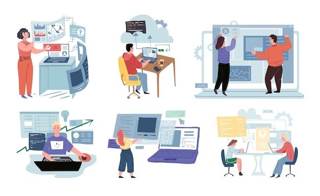 Personaggi dei cartoni animati piatti, concetto di illustrazione vettoriale del flusso di lavoro di sviluppo aziendale