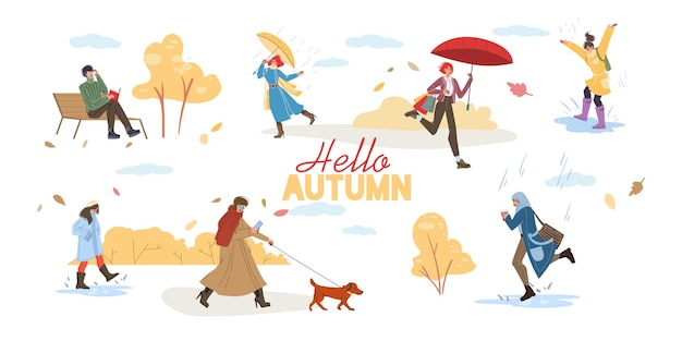 Personaggi dei cartoni animati piatti che fanno attività autunnali e camminano all'aperto sotto la pioggia