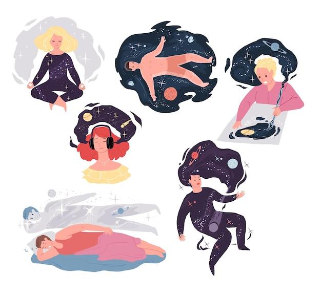 Personaggi dei cartoni animati piatti in illustrazioni metaforiche del lavoro mentale, set di concetti vettoriali