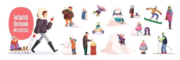 Personaggi dei cartoni animati piatti che svolgono attività invernali all'aperto