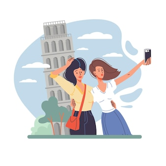 I personaggi dei cartoni animati piatti scattano foto facendo selfie illustrazione all'aperto