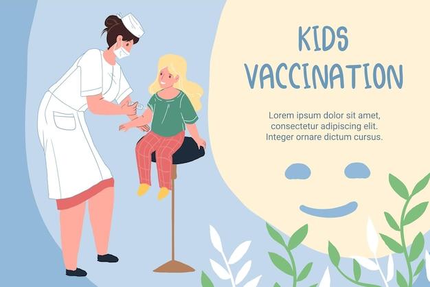 Personaggi dei cartoni animati piatto medico e paziente, vaccinazione e prevenzione del coronavirus concetto di illustrazione vettoriale