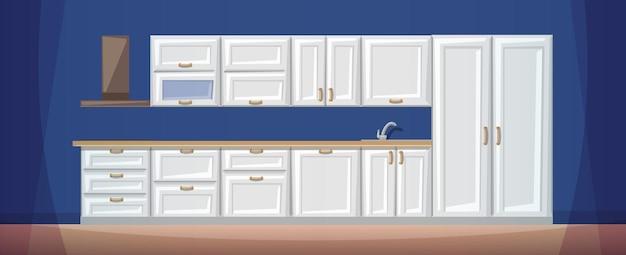 Cartone animato piatto di unità di cucina in legno bianco vuoto