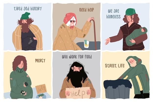 Set di caratteri tristi senzatetto di cartone animato piatto, concetto di illustrazione vettoriale di problema sociale globale
