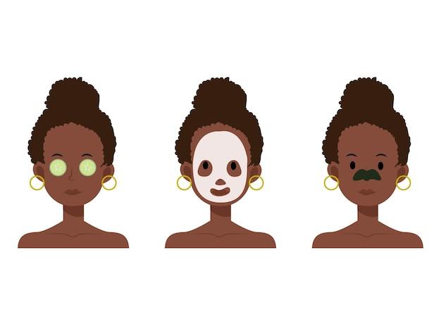 Illustrazione piana del fumetto della donna afroamericana con maschera facciale, bende per il naso, cura della pelle con benda sull'occhio di cetriolo.
