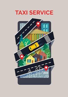 Telefono in stile cartone animato piatto con pubblicità di app di servizio taxi