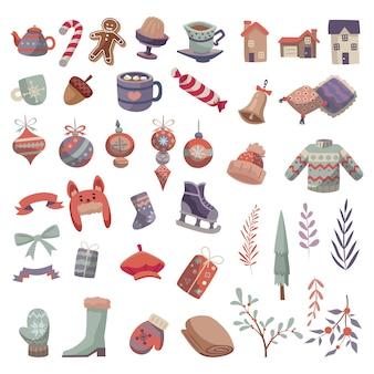 Insieme di raccolta di oggetti oggetto invernale stile fumetto piatto