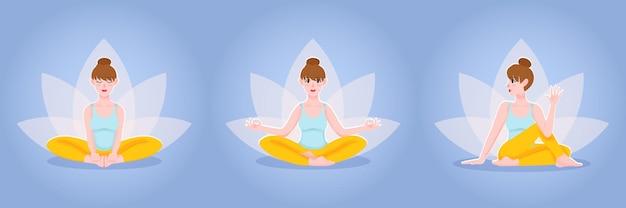 Insieme di vettore del fumetto piatto di beautifull ragazza che pratica yoga pone seduto sul pavimento con loto. illustrazione.