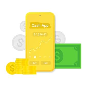 App di cassa piatta o pubblicità isolato su sfondo bianco
