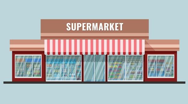 Esterno supermercato stile catroon piatto con scaffali e frigoriferi visti nelle finestre