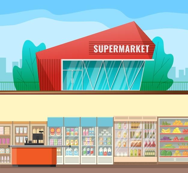 Esterno supermercato stile catroon piatto con vista dell'interno con scaffali e frigoriferi