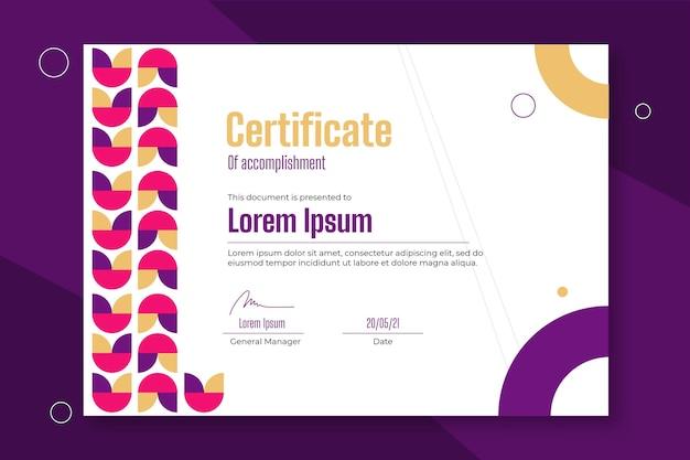 Modello di certificato di realizzazione piatto