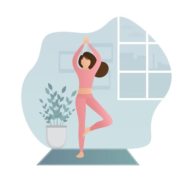 Yoga di carattere piatto a casa.
