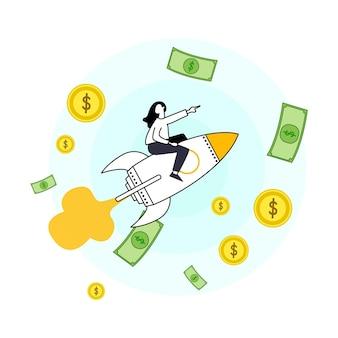 Personaggi piatti che fanno soldi tema di risparmio economico e finanziario guadagni di stipendio di carriera