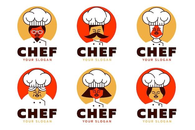 Collezione logo chef piatto