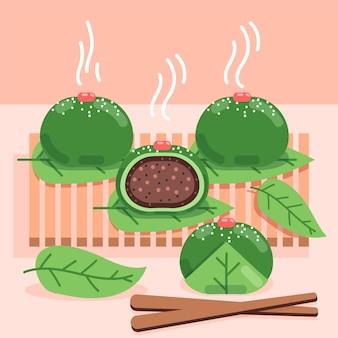 Piatto ching ming gnocchi illustrazione