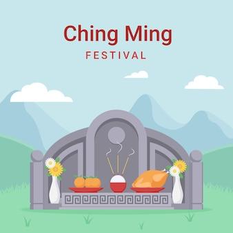 Illustrazione di festival piatto ching ming