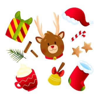 Collezione di elementi natalizi piatti