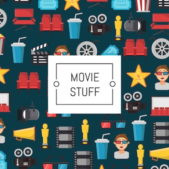 Illustrazione di icone cinema piatto
