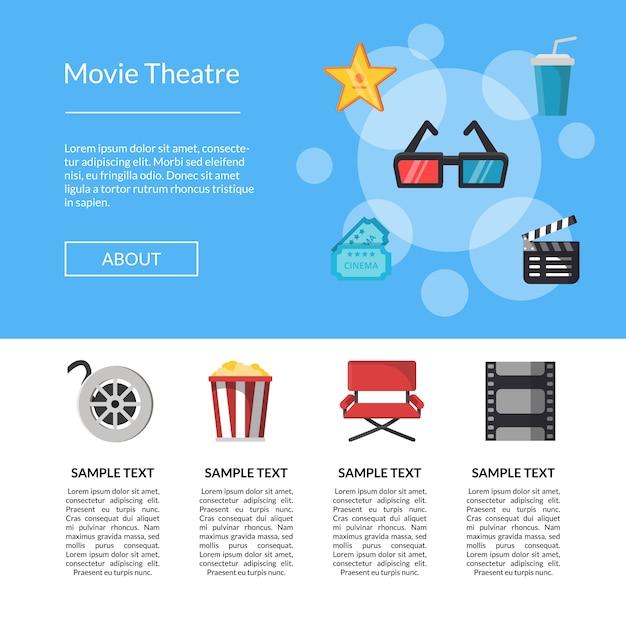 Modello di pagina di destinazione icone cinema piatto