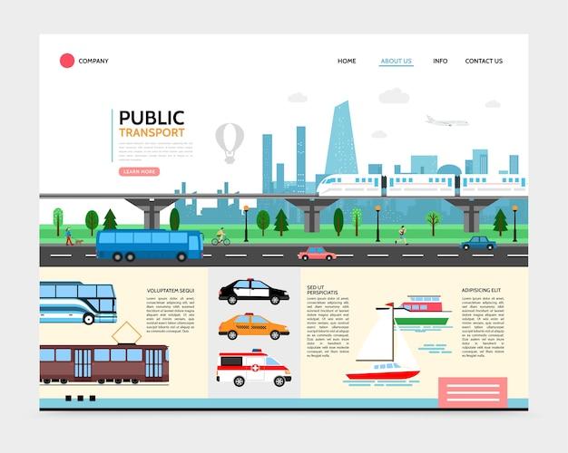 Modello di pagina di destinazione del trasporto urbano piatto