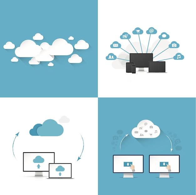 Modelli di illustrazione vettoriale di cloud computing piatto set di quattro diversi stili