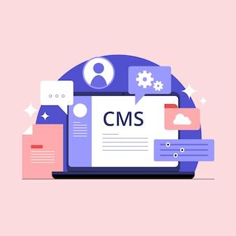 Illustrazione di concetto di cms piatto