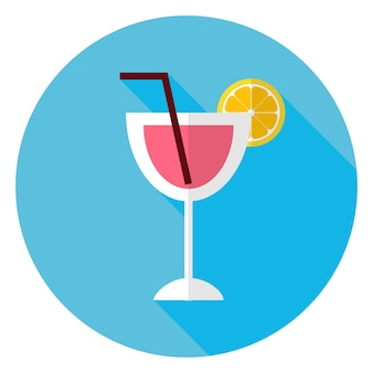 Cocktail piatto con fetta d'arancia e icona cerchio tubulo. illustrazione vettoriale di bere piatto stilizzato
