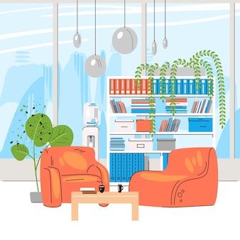 Collezione piatta di luoghi di lavoro creativi con spazi aperti moderni e interni di uffici vuoti - illustrazione di co-working aziendale e contemporanea della zona lounge.