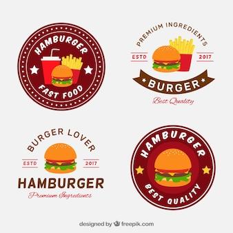 Collezione piatta di quattro loghi di hamburger