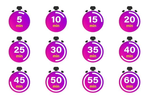 Collezione piatta con cronometro. insieme dell'icona del timer. icone di vettore dell'orologio. minuti conto alla rovescia. raccolta di tempo, orologio, orologio, timer. gestione del tempo. orologio sportivo, elemento di disegno vettoriale