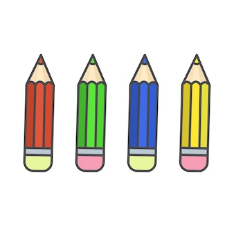 Icone a matita di colore piatto
