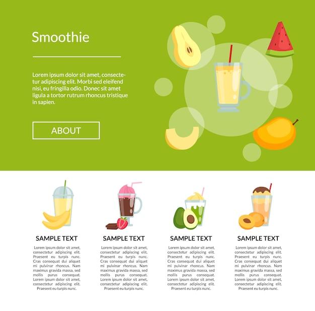 Pagina di destinazione smoothiebanner a colori piatti
