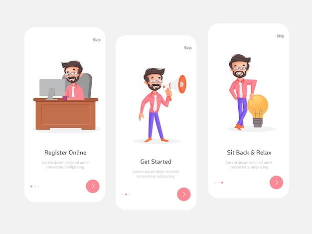 Design piatto colorato della schermata iniziale per app mobili