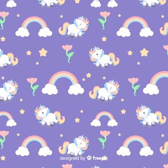 Modello piatto colorato unicorno carino