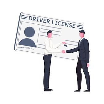 Composizione piana con patente di guida e due personaggi maschili
