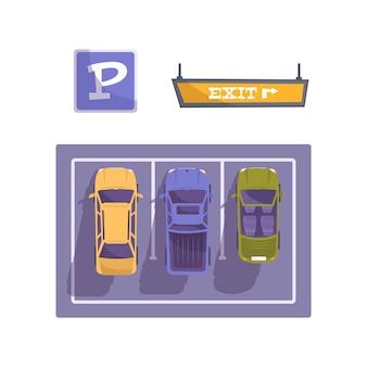 Composizione piatta con vista dall'alto di tre auto nelle fessure con segnale di parcheggio e illustrazione della freccia di uscita