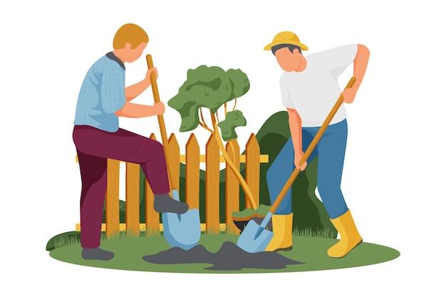 Composizione piatta con due uomini che piantano un albero in giardino