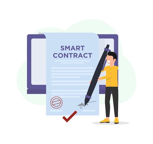 Concetto piatto di digital smart contract