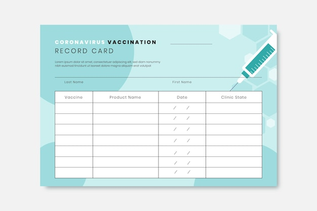 Scheda di registrazione della vaccinazione contro il coronavirus piatta