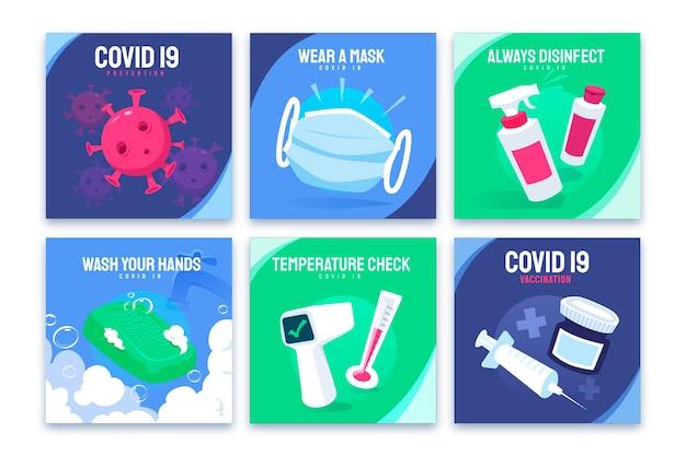Set di illustrazioni di raccomandazioni covid piatto