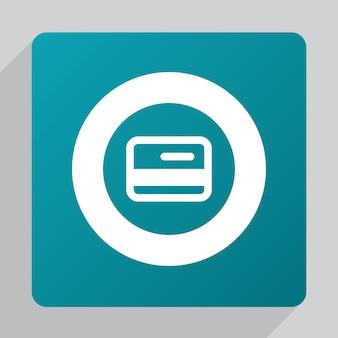 Icona carta di credito piatta, bianca su sfondo verde