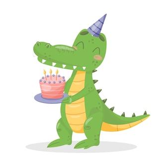 Coccodrillo piatto con torta di compleanno. immagine minima di riserva isolata su fondo bianco. simpatico alligatore festeggia il compleanno