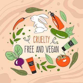 Piatto cruelty free e illustrazione vegana