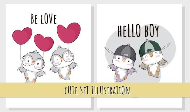 Illustrazioni di uccelli felici animali piatti carino per bambini