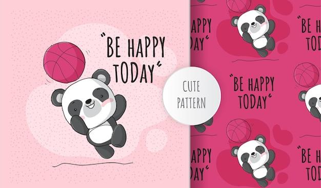 Panda animale piatto carino con set di pattern di basket